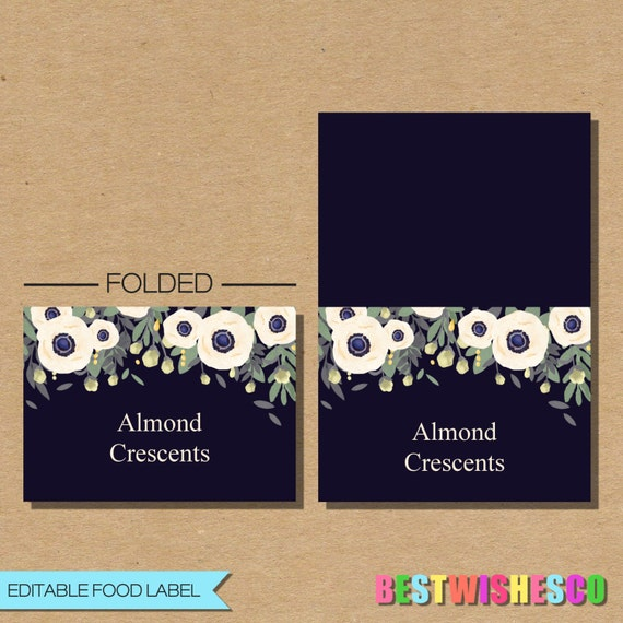 Editable pdf food labels seating cards floral enclosure card