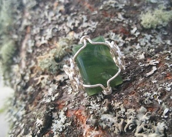 Symmetrical Green Aventurine × sterling silver wire wrapped ring Size 5