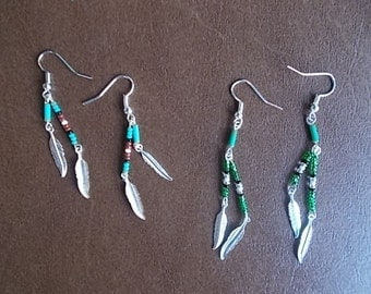 2 Pair Beaded Feather Earrings (lite weight) Native American Style~Cowgirl~Harley Chick~Fashion~Hippie~Rocker~Southwestern