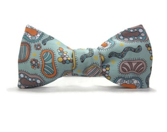 Microorganisms bowtie, science bowtie, microbiology bowtie, biology accessory, cilia, bacteria bowtie, teacher gift, germs