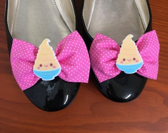 Dole Whip Inspired Pink Polka Dot Shoe Bows, Shoe Clips