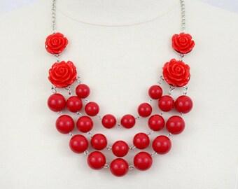 Multi Strand Rose Bubble Necklace Statement Necklace Bib Necklace True Red