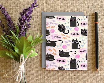 "Set of 5 cards ""Kitties"" pattern / blank inside"