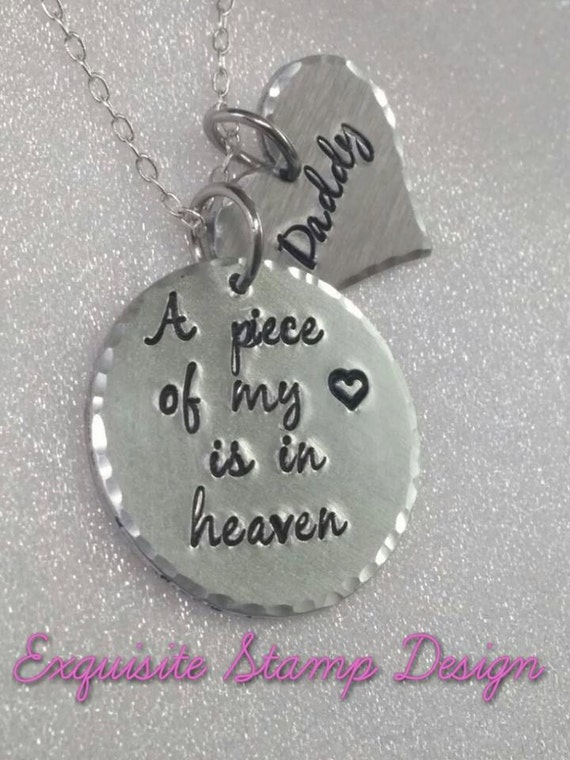 A Piece Of My Heart Is In Heaven - Personalized Jewelry - In Memory Of - Sympathy Gift - Bereavement Gift - Memorial Jewelry - Remembrance