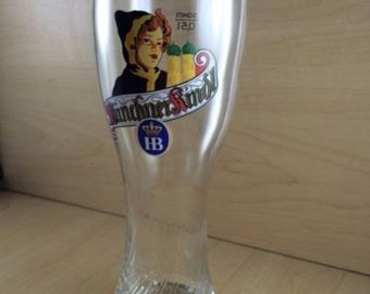 HB MUNCHNER KINDL weiss beer glass new Rare