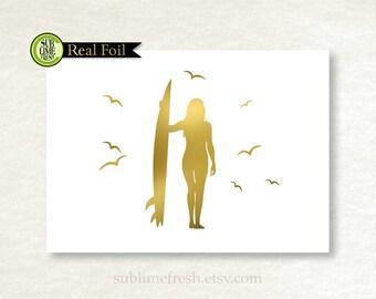 Surf Girl, Surfing Print, Gold Foil, Silver Foil, Beach Art, Gold Foil Surfer