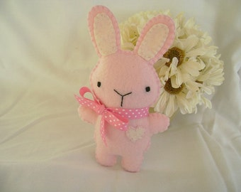 Small Felt Bunny, Stuffed Bunny Toy, Pink Felt Bunny, Felt Rabbit, Easter Toy Bunny