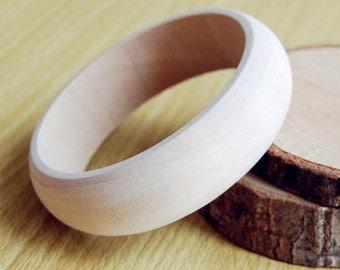 Wooden Bangles Vintage Unfinished One Piece Bracelet 2.2cm