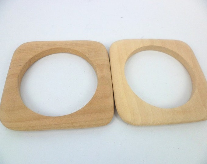 Square Wooden Bangles Vintage Unfinished One Piece DIY