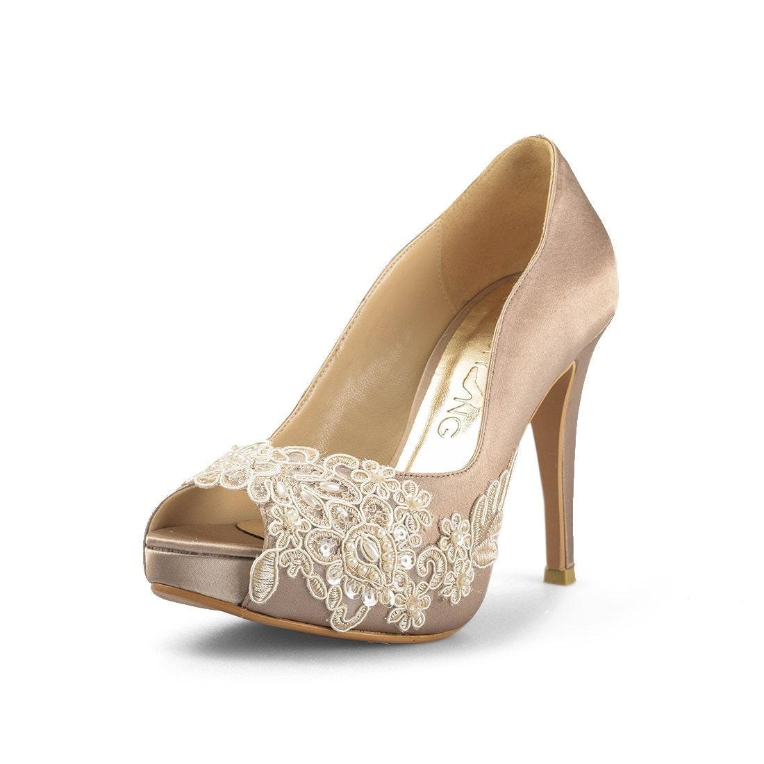 Miss ace 2 dark champagne wedding heels taupe satin bridal for Heels for wedding dress