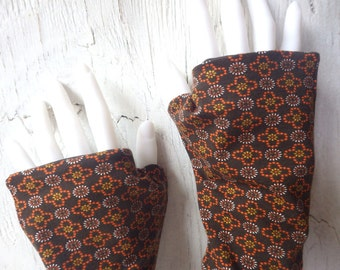 Dandy brown - Arm warmers fingerless gloves gauntlets lined brown
