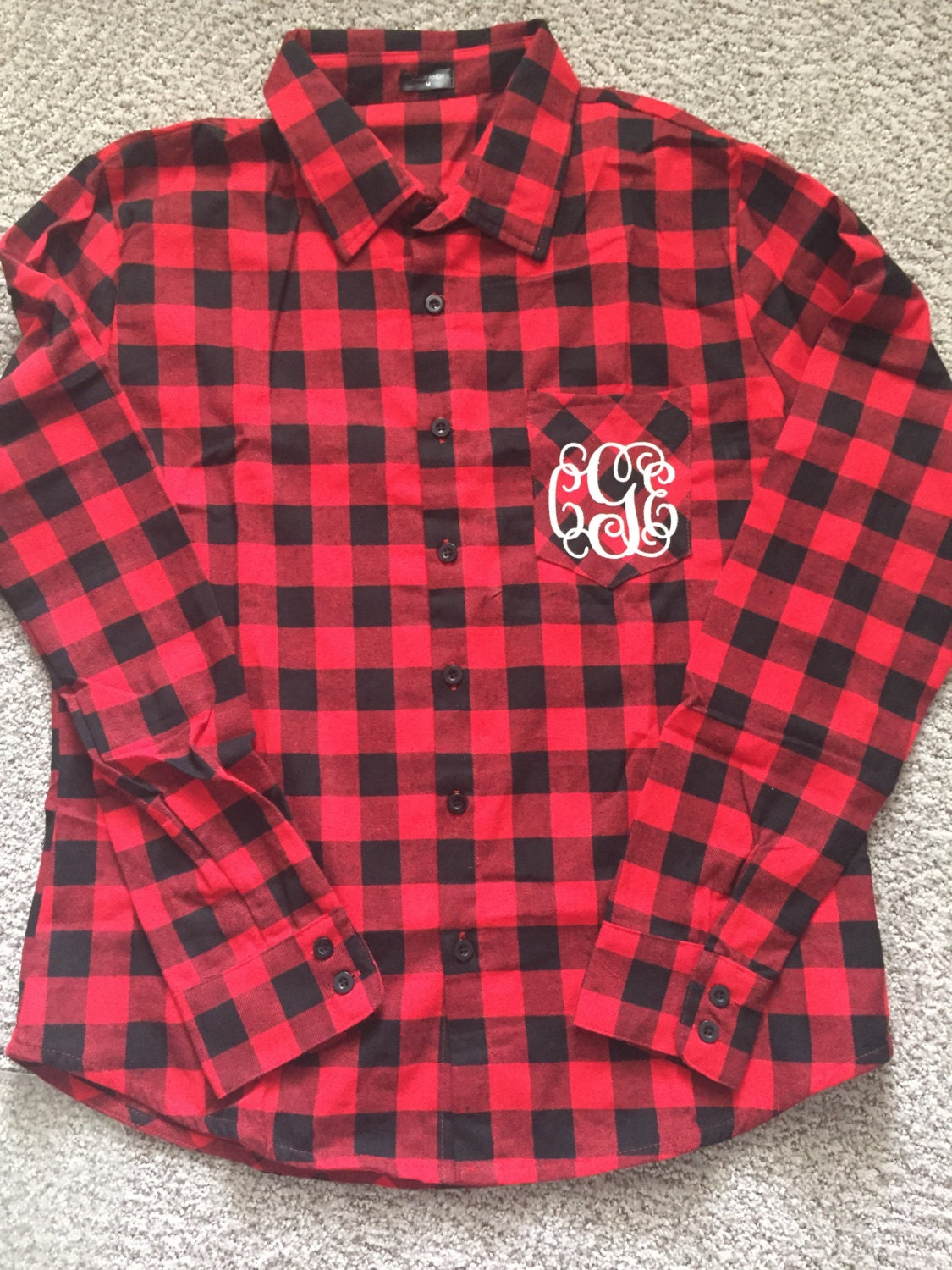 monogrammed plaid flannel shirt red and black