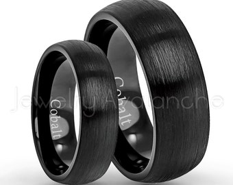 Bride And Groom Wedding Band Set 8mm 6mm Black IP Brushed Finish Dome Comfort