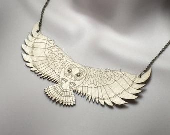 Laser cut Birch wood HUGE 'FLYING OWL' statement necklace