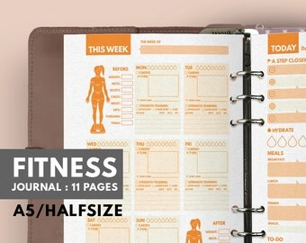 Fitness Journal A5, Filofax A5 insert, Fitness Planner A5 Filofax insert, Workout Filofax Planner, Fitness A5 Planner, Health Planner