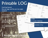 A5 Size Food Log/Journal, undated Day per page and day per two pages printable diary insert for Traveler's Notebook