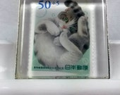 Gray Tabby Cat Curled Up Kitty Tummy Japan Anime Nippon Tokyo Kawaii Genuine Postage Stamp Pendant Key Ring