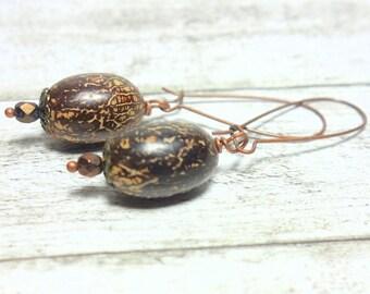 Earring coconut Pearl coconut wood bead Vintageperle