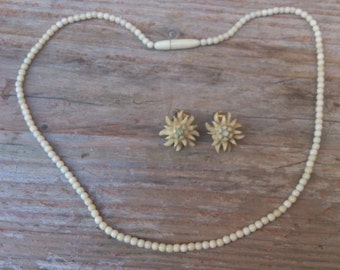 vintage carved bone tiny bead necklace and earrings