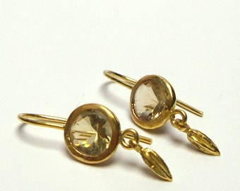 Gold Earrings - Gold  Earrings -  Lemon Stone Earrings - Seeds Collection - Free Shipping!!