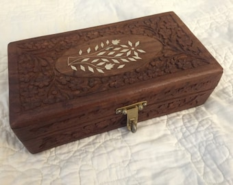 Vintage Hand Carved Rosewood Box With Inlay On The Lid From India