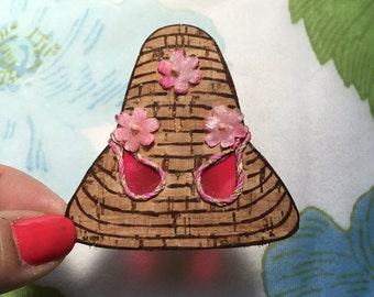 Cork Sunhat with Pink Flowers