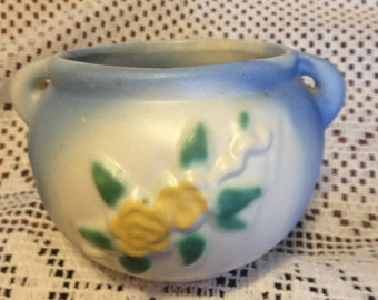 Free Shipping Vintage Pottery Planter Light Blue Yellow Flower 2 Handles