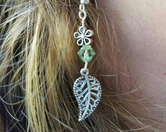 Leaf and Flower Earrings - Nickel Free Teal and Silver Leaf Earrings - Hypoallergenic Earrings