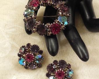 Vintage KARU ARKE Purple, Pink, Aurora Borealis Rhinestone Brooch and Earrings
