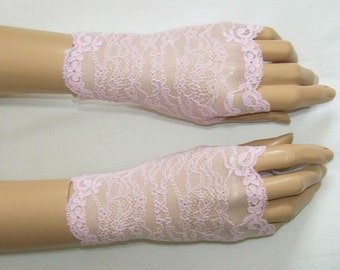 Holidays, Short,Powder Pink, Lace, Retro, Lolita, Fingerless Gloves with Thumb Holes. IDEAL for HER