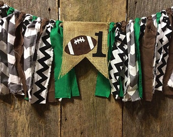 Football Burlap and Fabric Banner, first birthday, sports, boy