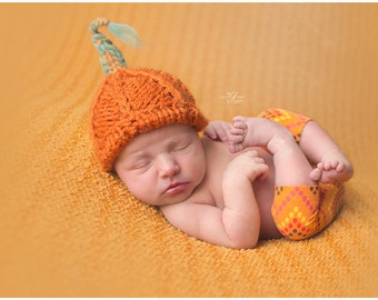 Newborn pumpkin hat / baby hat / halloween pumpkin hat / knit pumpkin / photography props newborns baby / newborn photo prop halloween