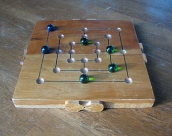 9 Men's Morris Wood and Marble Board Game