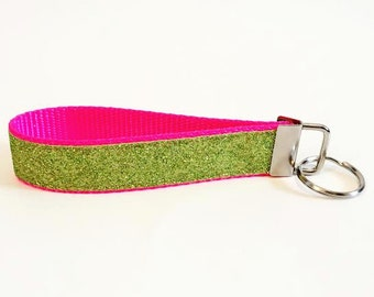 Lime Green Glitter Personalized Key Fob