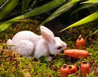 Bunny Rabbit with Two Carrots Fairy Garden Accessories