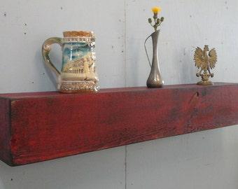"""Free Shipping / Rustic Wall Shelf / Floating Wall Shelf / 36""""Long Wooden Shelf / Antique Red Mantel"""
