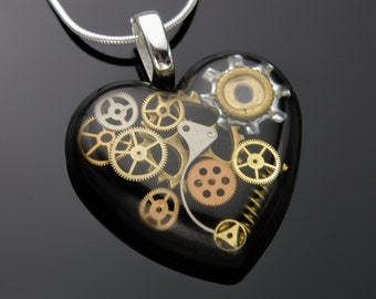 Steampunk Heart Pendant / Necklace Watch Parts, Cogs, Gears in Resin, Black, Sterling Silver Chain