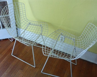 Harry Bertoia For Knoll Midcentury Modern Vintage Wire Sidechairs