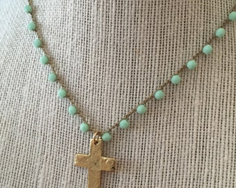 Mint Green Beaded Crochet Necklace With Gold Pewter Cross - Earthy Bohemian Style