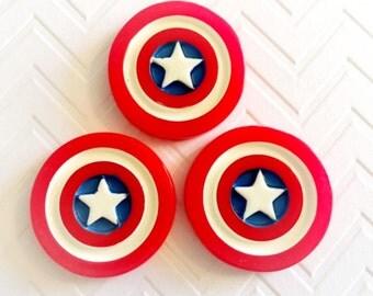 35mm Captain America Resin Cabochon 4 pcs
