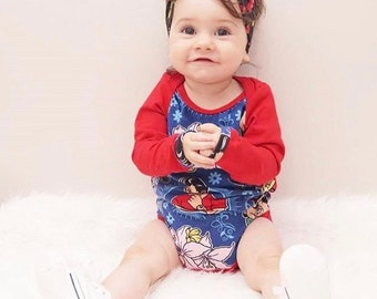 Rockabilly baby onesie blue red jumpsuit