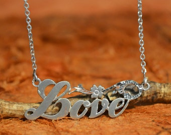 Necklace with LOVE Pendant - 100% Sterling Silver - Valentines Day Gift