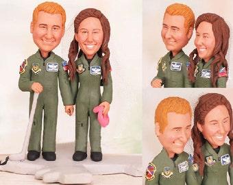 Aircraft mechanic wedding - Personalised wedding cake topper -  (Free shipping)