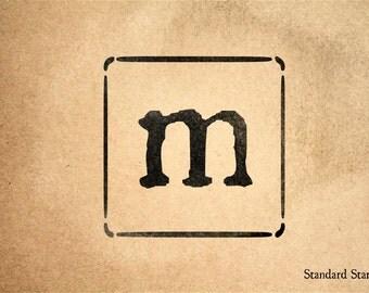 Letter m stamp