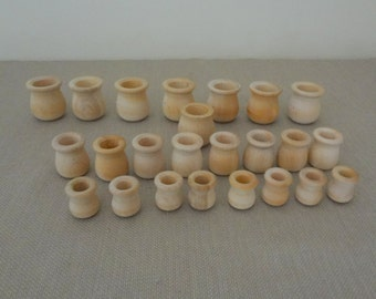 Lot of 24 Wood Wooden Unfinished Mixed Sizes Candle Cups