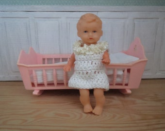 Vintage German E. S. Doll and Vintage bed