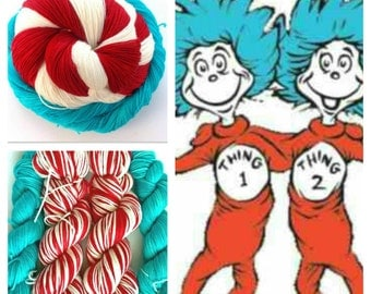 "DR SEUSS Inspired ""Thing 1 & Thing 2"" on Super Sock. 500 Yards. Made to Order"