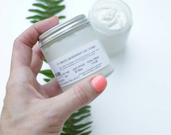 LIME & GINGER   Organic   Deodorant Cream   Probiotic   Natural Deodorant   Odor Protection