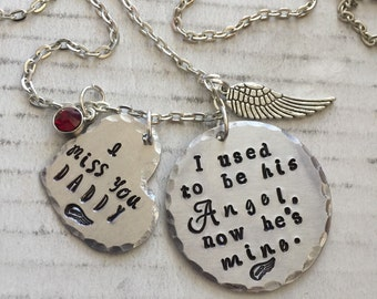 I used to be his angel, now he's mine father memorial necklace