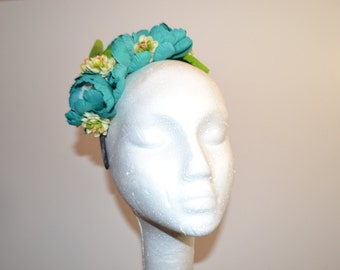 Blue and Green Floral Head Band